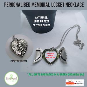 Personalised photo Angel Wings Heart Locket Necklace Love Gift Memorial keepsake
