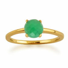 Emerald Solitaire Not Enhanced Yellow Gold Fine Rings