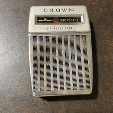 Vintage Crown 6 Transistor Pocket Radio With Case MODEL TR-680