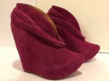 Jeffrey Campbell Zoomie Ankle Boots High Wedge Platform Suede Raspberry 7 M
