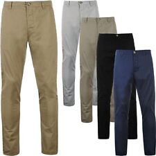 Mens Chino Trousers Regular Fit Straight Cotton Casual Elasticated Work Pants