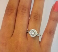 3 Ct Round Engagement Wedding Ring Solid 14K White Gold Solitaire Engagement