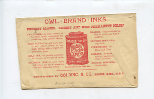 1890  Owl Brand Inks Golding & Co. Boston cancel ad  stamp cover,