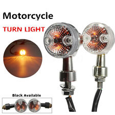 2X MINI RETRO MOTORCYCLE TURN SIGNALS LIGHTS INDICATORS SLIVER SHELL AMBER LAMP