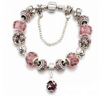 925 Silber pl. Bettelarmband Armband mit 15 Austria Glass Beads Charm Bracelet