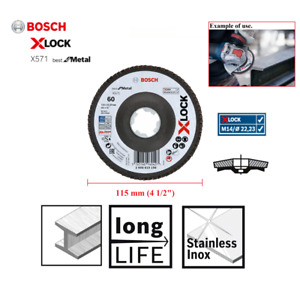 "Bosch X Lock 115mm (4 1/2"") Grinder Linishing Sanding Flap Disc For Metal 60G"