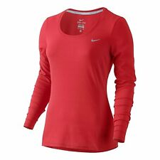 SZ M Nike Women's Dri-Fit Scoop Neck Mesh Red LS Yoga Running Shirt 880282-696