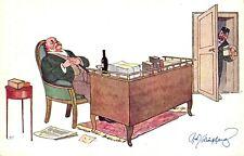 Schlafender Mann am Schreibtisch, Paketbote, sign. Schönpflug