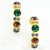 VINTAGE Joan Rivers Semi Hoop Earrings Multicolored Crystal Goldtone Signed