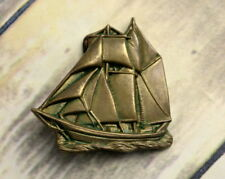 Sailboat Pirate Ship Belt Buckle Brass Baron Buckles Boat Yacht 1978 Vintage