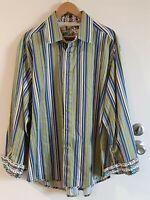 Robert Graham Men's Striped LS Flip Cuff Button up Shirt Size 3XL Blue Lime Gold