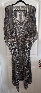 GOTTEX 100% Silk Caftan Kaftan Swim Coverup Pool Belted One Size Dress Robe OS