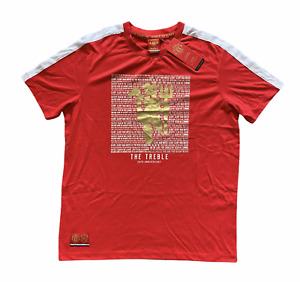 Manchester United Mens T-Shirt 1999 The Treble 20th Anniversary - Red - New