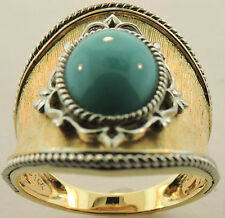 14K YELLOW GOLD TURQUOISE RING SIZE 7