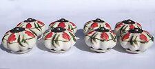 porcelaine céramique poignées boutons fleur blanche rouge MOYEU feuilles vertes
