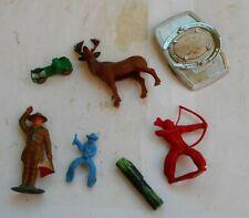 LOT Vintage Toys Belt Buckle Indians Deer Figurines Car Lead Boy Scout Cowboy