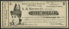 $1.00 N.B. HAYES Co. WORLD'S COLUMBIAN EXPOSITION SOUVENIR CHICAGO 1893 BT5675