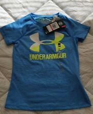 UA Under Armour Big Logo Blue Girls' Heat Gear Short Sleeve Shirt Sz XS NWT
