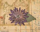 Purple & Brown Leather Steampunk Flower Pin Gear Costume Hat Lapel Handmade