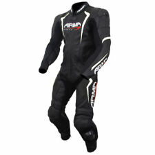 Armr One Piece Motorcycle Racing Leather Suit - Black/White/Red