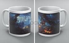 Halloween Mug Haunted Forest Ghosts Spooky House Pumpkin Church Coffee Tea Gift