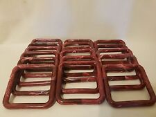 "Lot of 20 Square 4"" Four Inch Burgundy Plastic Marbella Macrame Craft Rings"