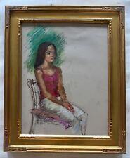 IMPRESSIONIST LITTLE Girl PORTRAIT PASTEL  DRAWING Signed