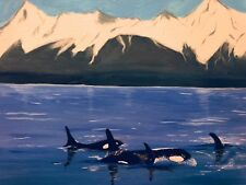 original acrylic painting on canvas. 11x14 Family of Orcas by Chris Deese