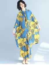 Womens Casual Folk Style Cotton Linen Floral Loose Tops Wide Leg Pants 2Pc Suit