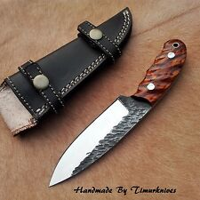 8 INCH HAND FORGED 1095 STEEL HUNTING SKINNER KNIFE ROSE WOOD  TIMURKNIVES