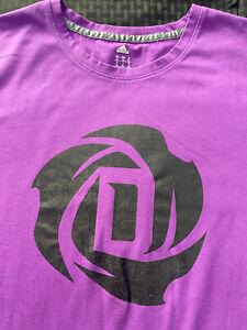 Derrick Rose Purple Black Logo T Shirt adidas Basketball ClimaLite DRose Knicks