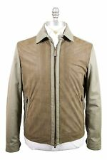Ermenegildo Zegna 40US Cotton & Perforated Leather Short Zipper Jacket Brownish
