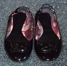 Burberry Black Patent Leather Ballet Flats, Size 38