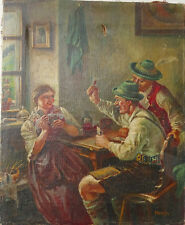 Antike Ölgemalde Bauern Spielkarten Schöneswerk P.Henning signiert 1900