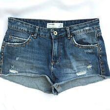 ZARA TRF Denim Womens Shorts 2 Jean Studded Distressed Cotton