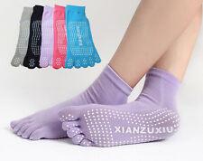 5 Pairs/Lot Women Sport Yoga Five Finger Toe Socks Cotton Non Slip Crew Socks