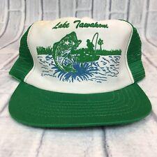 80s VTG LAKE TAWAKONI Trucker Mesh TEXAS Hat Snapback BASS FISHING Trout
