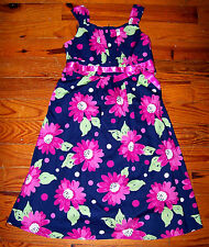 Girls JESSICA ANN Dark Blue Bright Pink Green Cotton Floral Print Dress Size 12