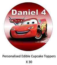 30x Disney Cars Personalised Cupcake Toppers Edible Wafer Paper Fairy Cake