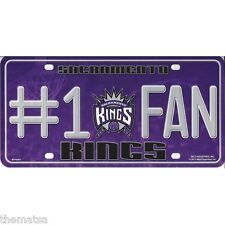 SACREMENTO KINGS NUMBER ONE FAN NBA BASKETBALL METAL LICENSE PLATE MADE IN USA