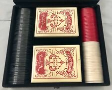 NEW IN BOX Lucky Brand Poker Set 2 Card Packs 100 Chips Vintage Look Black Case