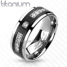 Men's Solid Titanium Black IP Center Cubic Zirconia Comfort Fit Wedding Band