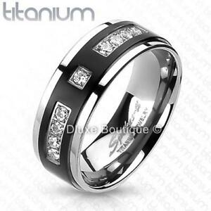 Men's Solid Titanium Black IP Center CZ Comfort Fit Wedding Ring Band Size 7-13