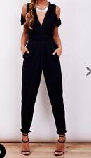 John Zack Black Jumpsuit  Wrap Front Cold Shoulder RRP £50 Size 10#b16