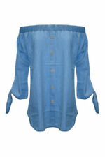 Cotton Blend Off-the-Shoulder Long Sleeve Tops & Shirts for Women