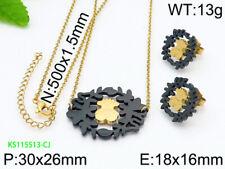 2019 Fashion Bear Jewelry Set Stainless Steel Necklace Earrings Woman's Pendant