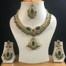 GREEN BROWN GOLD KUNDAN INDIAN JEWELLERY NECKLACE EARRING CRYSTAL SET NEW GIFT