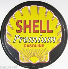 Shell Gasoline ROUND TIN SIGN oil gas pump & garage decor logo metal vtg ad 612