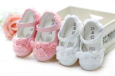 Zapatos Bautizo Del Bebé Niñas en Blanco Rosa 3-6 6-9 9-12 12-18 18-24 meses