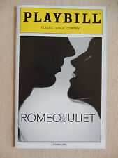 October 2013 - Classic Stage Company Theatre Playbill - Romeo And Juliet